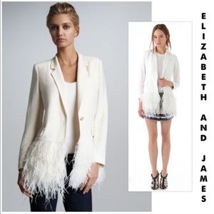 Elizabeth &James drapey feather blazer jacket 6